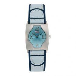4YOU Mädchenuhr und Damenuhr mit hellblauem Lederarmband 4.2602