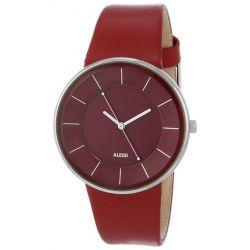 Alessi Herren-Armbanduhr Analog Quarz Leder rot AL8001