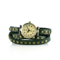 Alienwork Retro Quarzuhr Armbanduhr Wickel Uhr Punk Leder gelb grün J045-05