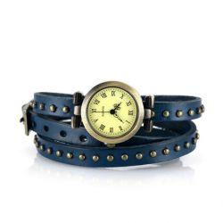 Alienwork Retro Quarzuhr Armbanduhr Wickel Uhr Punk Leder gelb blau J041-02