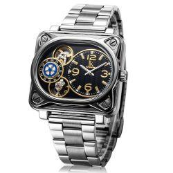 Alienwork IK Automatikuhr Automatik Armbanduhr Skelett mechanische Uhr Edelstahl schwarz silber 98199G-02 Biżuteria i Zegarki