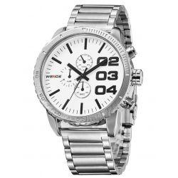 Alienwork Weide Quarzuhr Armbanduhr XXL Oversized Uhr Wasserdicht 3ATM Metall weiss silber OS.WH-3310-2 Biżuteria i Zegarki