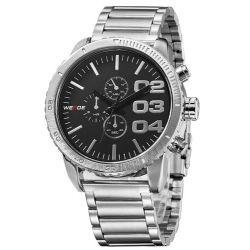 Alienwork Weide Quarzuhr Armbanduhr XXL Oversized Uhr Wasserdicht 3ATM Metall schwarz schwarz OS.WH-3310-1 Biżuteria i Zegarki