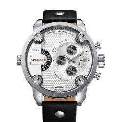 Alienwork DualTime Quarzuhr Armbanduhr Multi Zeitzonen Uhr XXL Oversized Leder weiss schwarz OS.WH-3301-2 Biżuteria i Zegarki