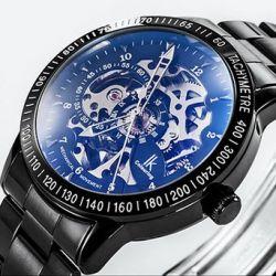 Alienwork IK Automatikuhr Automatik Armbanduhr Skelett mechanische Uhr Edelstahl schwarz schwarz 98226-08 Biżuteria i Zegarki
