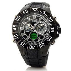 Alienwork Oshen Analog-Digital Armbanduhr Multi-funktion LCD Uhr XXL Oversized Kautschuk schwarz schwarz OS.AD2815-1 Biżuteria i Zegarki