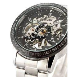 Alienwork IK Automatikuhr Automatik Armbanduhr Skelett mechanische Uhr Edelstahl schwarz silber 98226-01 Biżuteria i Zegarki