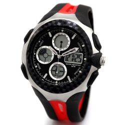 Alienwork Ohsen Analog-Digital Armbanduhr Chronograph LED Uhr Multi-funktion Kautschuk schwarz rot OS.AD0926-4 Biżuteria i Zegarki