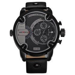 Alienwork DualTime Quarzuhr Armbanduhr Multi Zeitzonen Uhr XXL Oversized Leder schwarz schwarz OS.WH-3301-B-3 Biżuteria i Zegarki