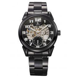 Alienwork IK Automatikuhr Automatik Armbanduhr Skelett mechanische Uhr Edelstahl schwarz schwarz 98112G-A Biżuteria i Zegarki