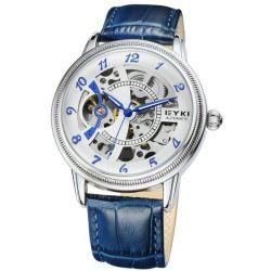 Alienwork Eyki Automatikuhr Automatik Armbanduhr Skelett mechanische Uhr Leder weiss schwarz YH.W8752-03 Biżuteria i Zegarki