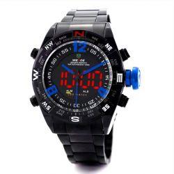 Alienwork DualTime Analog-Digital Armbanduhr Chronograph LED Uhr Multi-funktion Edelstahl schwarz schwarz OS.WH-2310-B-4 Biżuteria i Zegarki