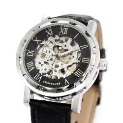 Alienwork Automatikuhr Automatik Armbanduhr Skelett mechanische Uhr graviert Leder schwarz schwarz AH005-01 Biżuteria i Zegarki
