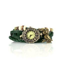 Alienwork Retro Quarzuhr Armbanduhr Wickel Uhr Armreif Leder gelb grün J047-05 Biżuteria i Zegarki