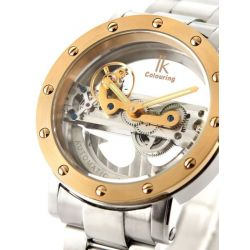 Alienwork IK Automatikuhr Automatik Armbanduhr Skelett mechanische Uhr Wasserdicht 5ATM Edelstahl silber 98393G-MS-Bb-M Biżuteria i Zegarki