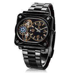 Alienwork IK Automatikuhr Automatik Armbanduhr Skelett mechanische Uhr Edelstahl schwarz schwarz 98199G-01 Biżuteria i Zegarki