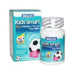 Bioglan, Kids Smart, Multi-Vitamin + Fish Oil Vita Balls, Berry Flavor, 30 Chewable Soccer Balls