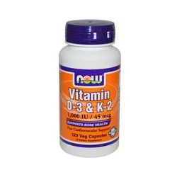 Now Foods, Vitamin D-3 & K-2, 1,000 IU / 45 mcg, 120 Veggie Caps