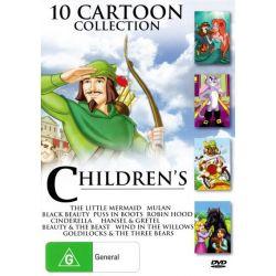 Children's Cartoon Collection (Black Beauty/Puss in Boots/Cinderella/Wind in the Willows/Hansel and Gretel/Mulan/Robin Hood/Little Mermaid/Goldilocks on DVD.