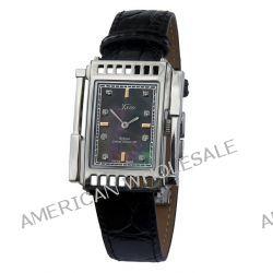Xezo Unisex Architect Schweizer Uhr im Tank-Stil. Keine zwei Uhren sind identisch. Vintage-Stil. Schwarzem Naturperlmutt Biżuteria i Zegarki