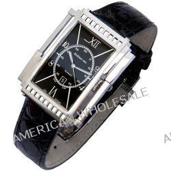 Xezo Mens Architect Swiss Made Curved Automatic Watch. Genuine Black Calf-skin Leather. 165 FT WR Biżuteria i Zegarki
