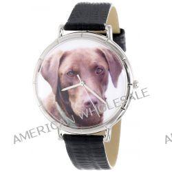 Whimsical Watches Unisex-Armbanduhr Chocolate Labrador Retriever Black Leather And Silvertone Photo Watch #T0130011 Analog Leder Mehrfarbig T-0130011