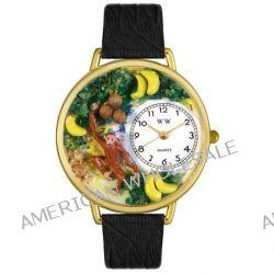 Whimsical Watches Unisex-Armbanduhr Monkey Black Skin Leather And Goldtone Watch #G0150008 Analog Leder Mehrfarbig G-0150008