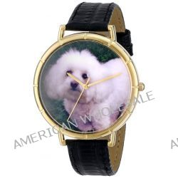 Whimsical Watches Unisex-Armbanduhr Bichon Black Leather And Goldtone Photo Watch #N0130010 Analog Leder mehrfarbig N-0130010