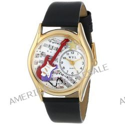 Whimsical Watches Unisex-Armbanduhr Electric Guitar Black Leather And Goldtone Watch #C0510006 Analog Leder mehrfarbig C-0510006