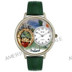 Whimsical Watches Unisex-Armbanduhr Ireland Hunter Green Leather And Silvertone Watch #U1420004 Analog Leder Mehrfarbig U1420004