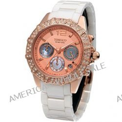 Time100 Feine Multifunktion-Keramiken-Damen-Armbanduhr mit Muschel-Zifferblatt und drei Anzeigen W50056L.02A