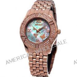 Time100 Wasserdichte Edelstahl-Damen-Armbanduhr mit farbigem Muschel-Zifferblatt und Swarovski-Diamanten #W50054L.02A
