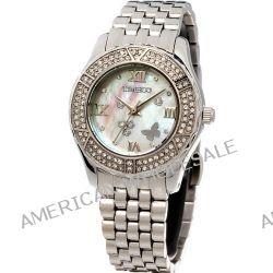 Time100 Wasserdichte Edelstahl-Damen-Armbanduhr mit farbigem Muschel-Zifferblatt und Swarovski-Diamanten #W50054L.01A