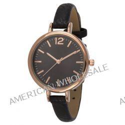 SIX Uhr mit rosé-goldenem Gehäuse & schmalem schwarzen Armband (274-317)