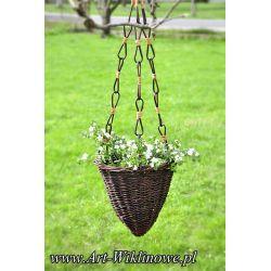 rożek donica ogrodowa osłonka na kwiaty z wikliny
