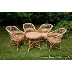 Meble ogrodowe z wikliny, stół i cztery fotele