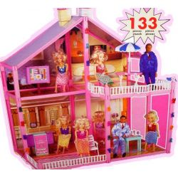 Domek dla lalek Barbie mebelki 133 el 71cm EduCORE