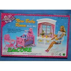 POKÓJ NOWORODKA mebelki lalka Barbie 24022 EduCORE
