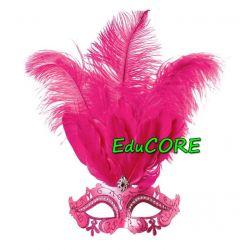 MASKA Z PIÓRAMI różowa kostium strój  UNIW EduCORE