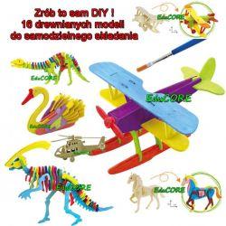 AUTO samolot DINOZAUR 16 modeli 3D drewno EduCORE