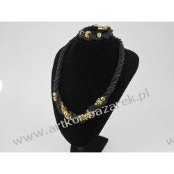 Komplet czarno złoty Biżuteria i Zegarki