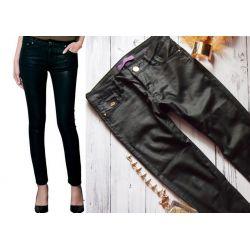 JEANSY woskowane RURKI spodnie skóra mat s xs