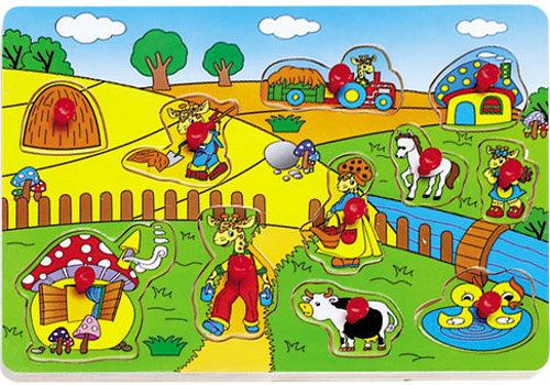 PUZZLE DREWNIANE - ŻYRAFY NA FARMIE