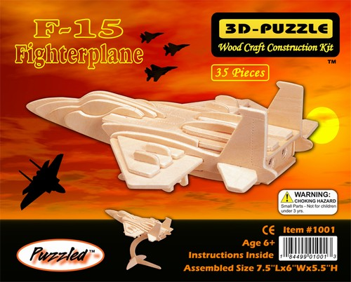 MYŒLIWIEC F-15 -DREWNIANE PUZZLE PRZESTRZENNE 3D