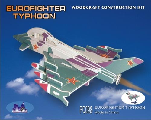 EUROFIGHTER TYPHOON - DREWNIANE PUZZLE PRZESTRZENNE 3D KOLOROWE