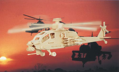 HELIKOPTER APACHE - DREWNIANE PUZZLE 3D