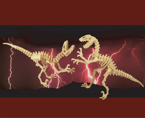 DEINONYCHUS DINOZAURY X 2  -DREWNIANE PUZZLE 3D