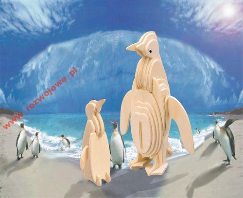 PINGWINY  - DREWNIANE PUZZLE  PRZESTRZENNE 3D