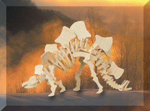 STEGOSAURUS (mały) DINOZAURY -DREWNIANE PUZZLE 3D