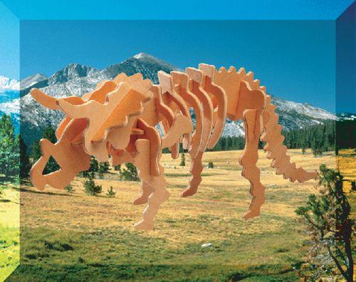 TRICERATOPS DINOZAURY -DREWNIANE PUZZLE 3D
